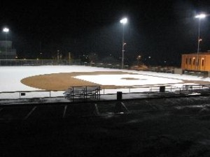 baseball field in snow